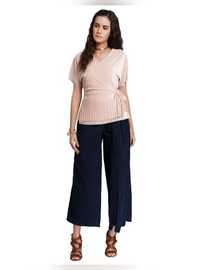 Pink Pleated Wrap Top