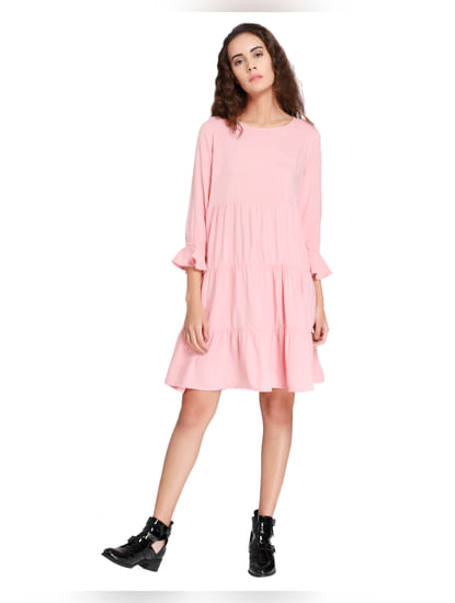 Pink Tiered Shift Dress