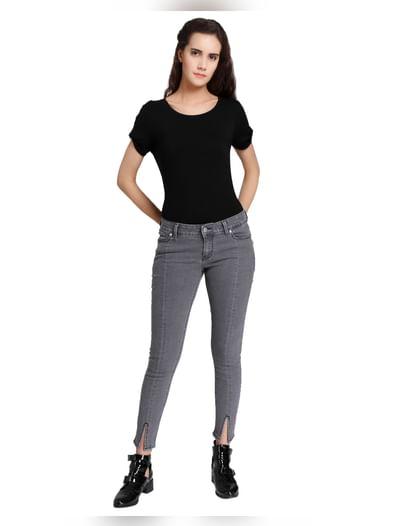 Grey Split Ankle Low Waist Slim Fit Jeans