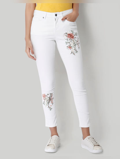 White Embroidered Mid Rise Slim Fit Jeans