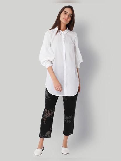 White Tube Sleeves Long Shirt