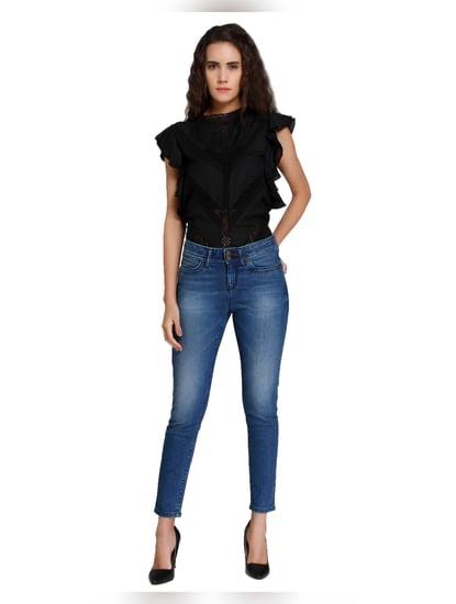 Dark Blue Regular Waist Slim Fit Jeans