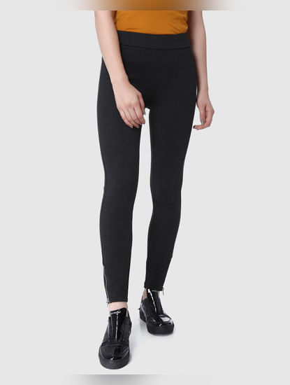 Dark Grey Mid Rise Zip Detail Leggings