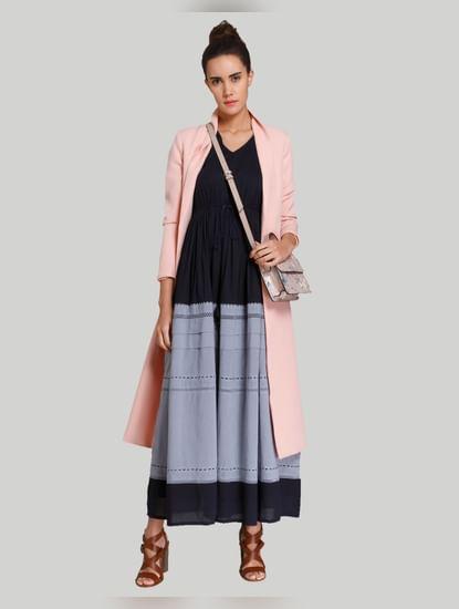 Blue Colourblocked Maxi Dress