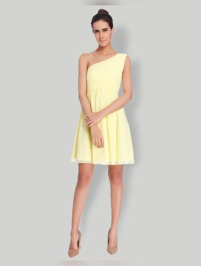 Light Yellow One Shoulder Mini Dress