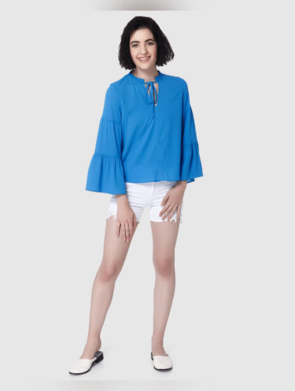 Blue Flared Sleeves Tie Up Neck Top