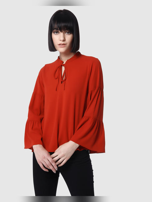 Red Flared Sleeves Tie Up Neck Top