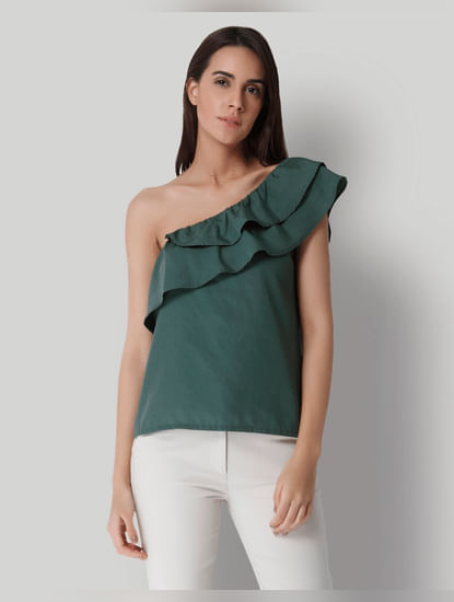 Green Solid One Shoulder Top