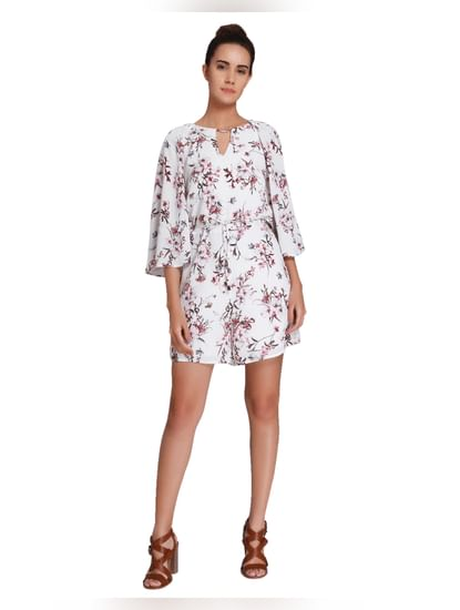 White Floral Print Playsuit