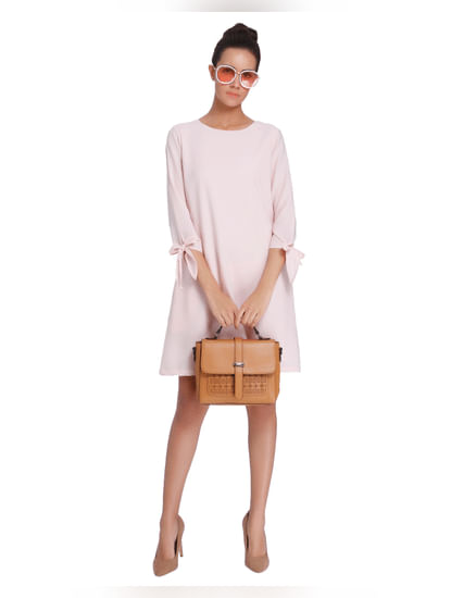 Pink Cold Shoulder Sheath Dress