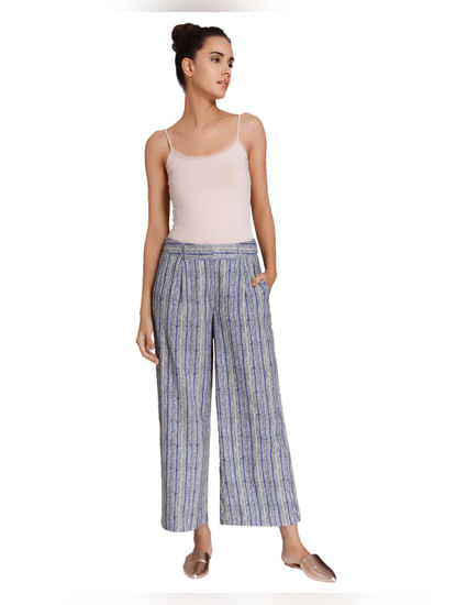 Grey Textured Striped Culottes