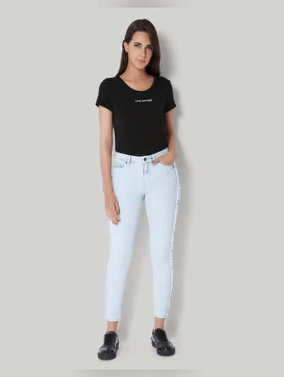 Light Blue Mid Rise Fringe Detail Slim Jeans
