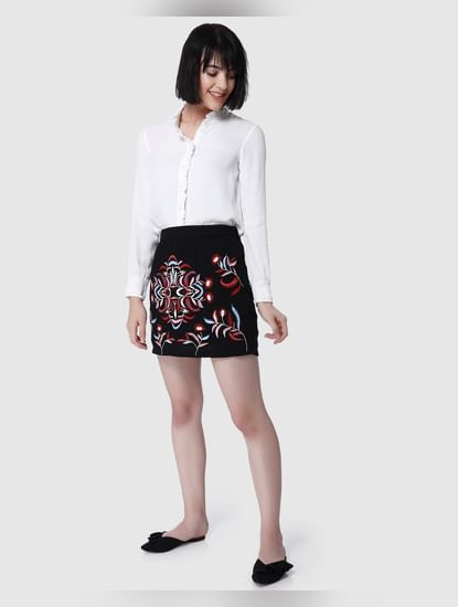 Black Embroidered Short Skirt