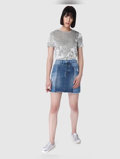 Blue Distressed High Waist Mini Denim Skirt
