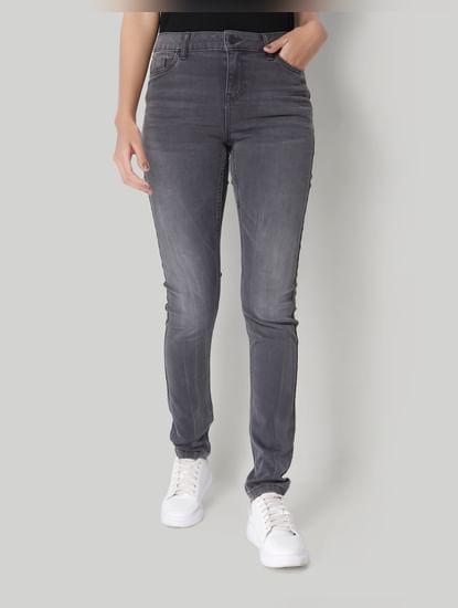 Light Grey Mid Rise Slim Fit Jeans
