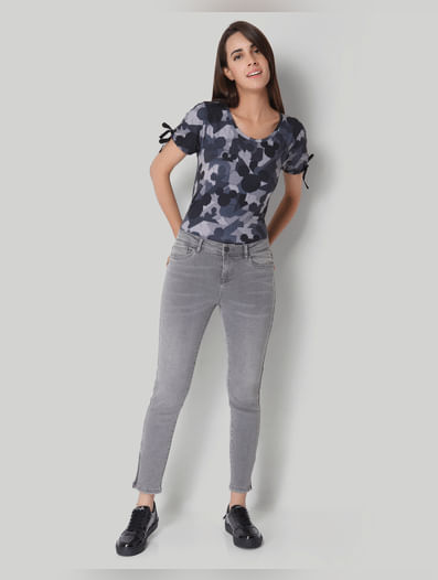 Light Grey Regular Waist Ankle Zip Slim Fit Jeans