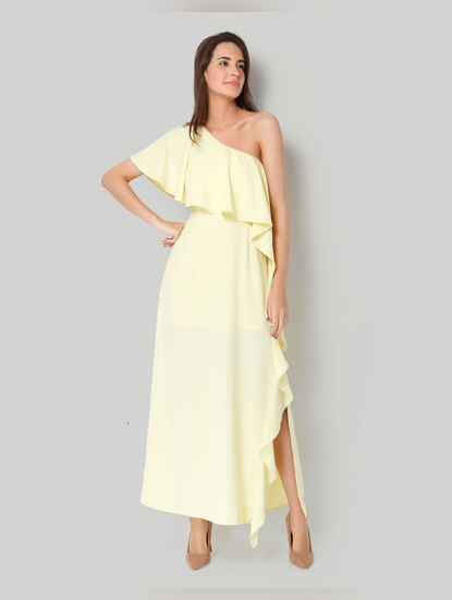 Yellow One Shoulder Maxi Dress
