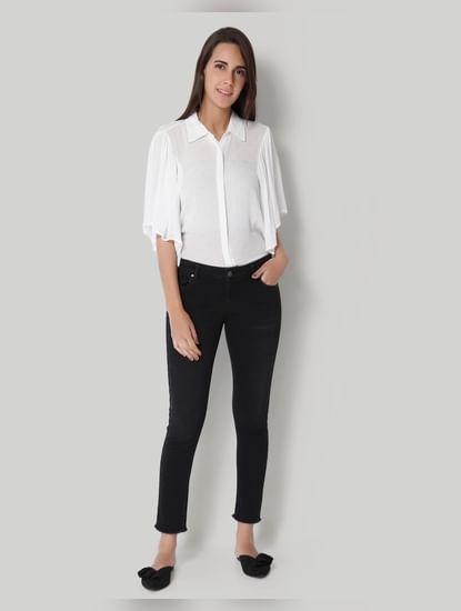 Black Low Waist Ankle Length Slim Jeans