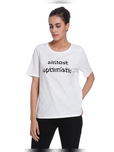 White Text Print Embellished T-Shirt