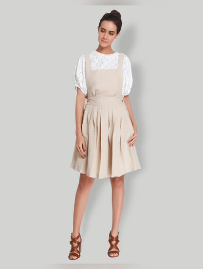 Beige Fit And Flared Dress