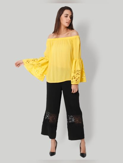 Yellow Off Shoulder Cut Work Sleeves Top