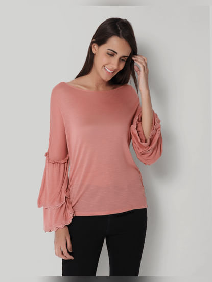 Peach Tiered Sleeves Top