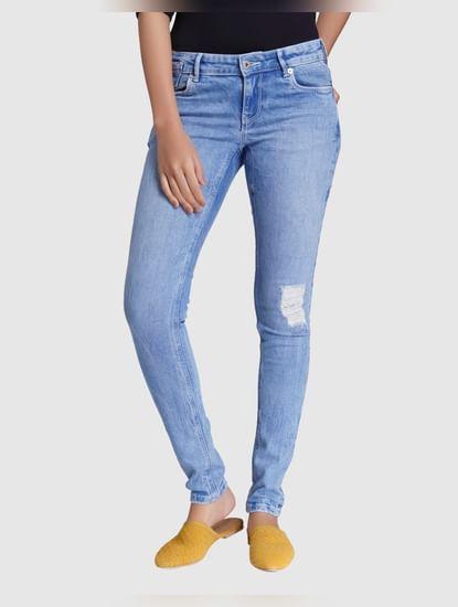 Light Blue Low Rise Distressed Slim Fit Jeans
