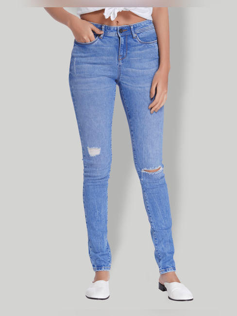 Light Blue Ripped Mid Rise Slim Fit Jeans