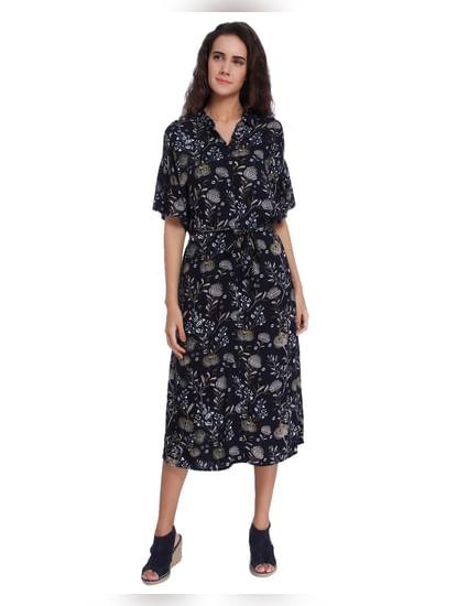 Dark Blue Floral Print Shirt Dress