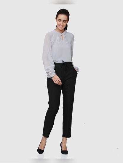 Black Mid Rise Ankle Length Drawstring Regular Fit Pants