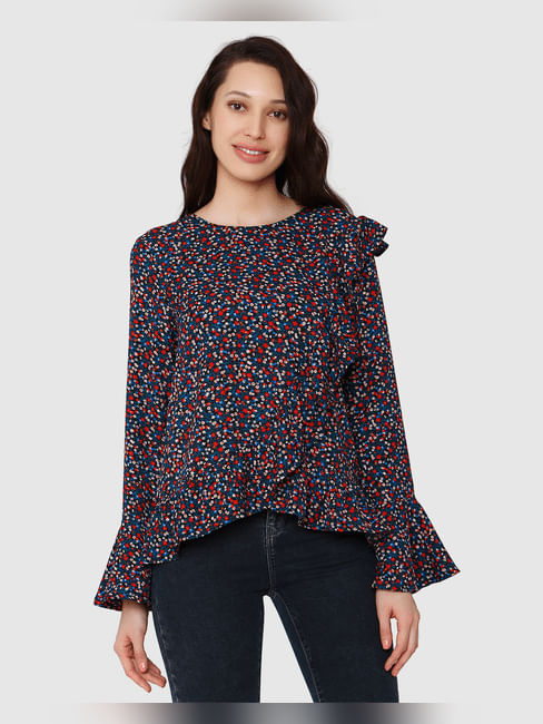 Black All Over Floral Print Top