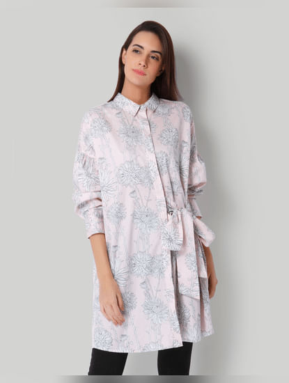 Pink Printed Shirt Dress