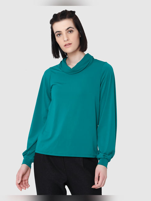 Green Turtle Neck Long Sleeves Top