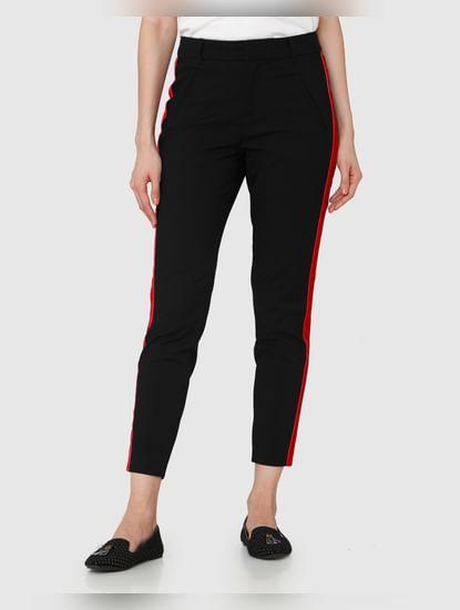 Black Mid Rise Ankle Length Regular Fit Pants