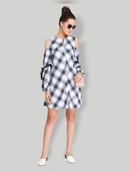 White Check Cold Shoulder Shirt Dress