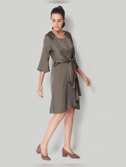 Olive Front Tie Shift Dress