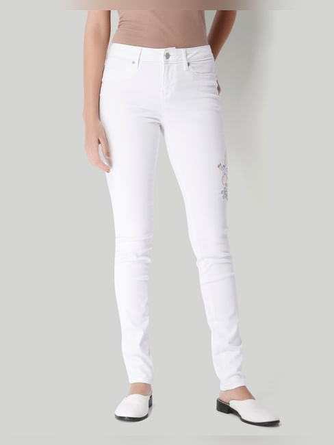 White Normal Waist Embroidered Patch On Front Panel Slim Fit Jeans