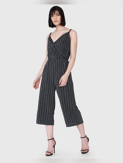 Black Textured Sweetheart Neck Singlet Jumpsuit