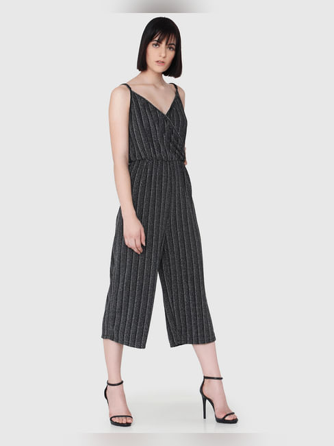 Black Textured Sweetheart Neck Singlet Jumpsuit