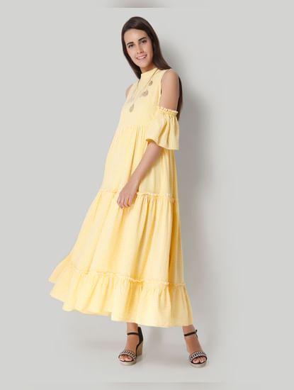 White Checks Maxi Dress