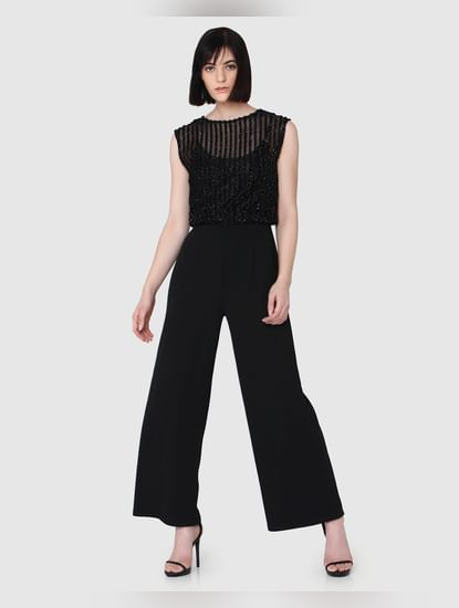 Black Mid Rise Textured Regular Fit Jumpsuit
