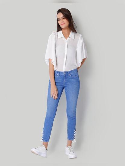 Light Blue Mid Rise Slim Fit Lace Up Jeans