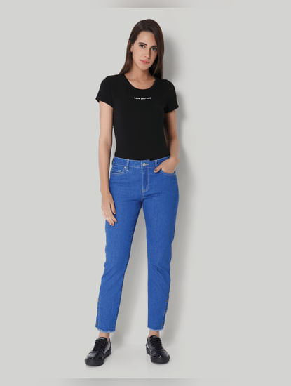 Blue Regular Waist Side Button Detail Jeans
