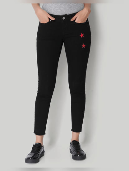 Black Star Print Regular Waist Ankle Length Slim Fit Jeans