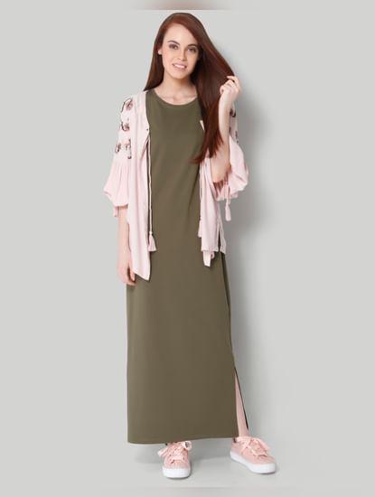 Olive Green Cap Sleeves Maxi Dress