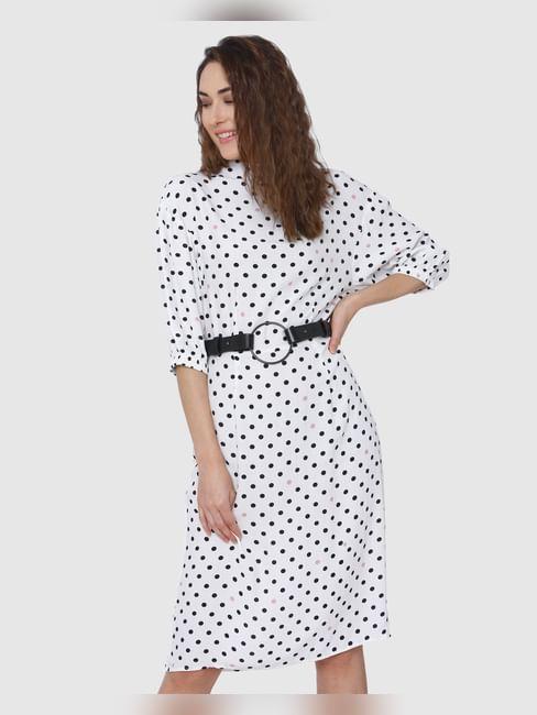 White Polka Dot Midi Dress
