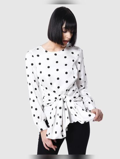 Black & White Polka Dot Tie Up Waist Top