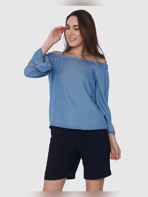 Light Blue Off Shoulder Flared Sleeves Denim Top