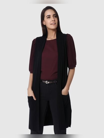 Black Long Sleeveless Cardigan
