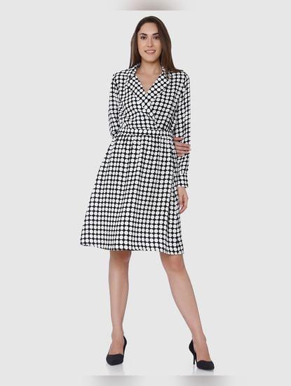 Black Polka Dot Wrap Shift Dress